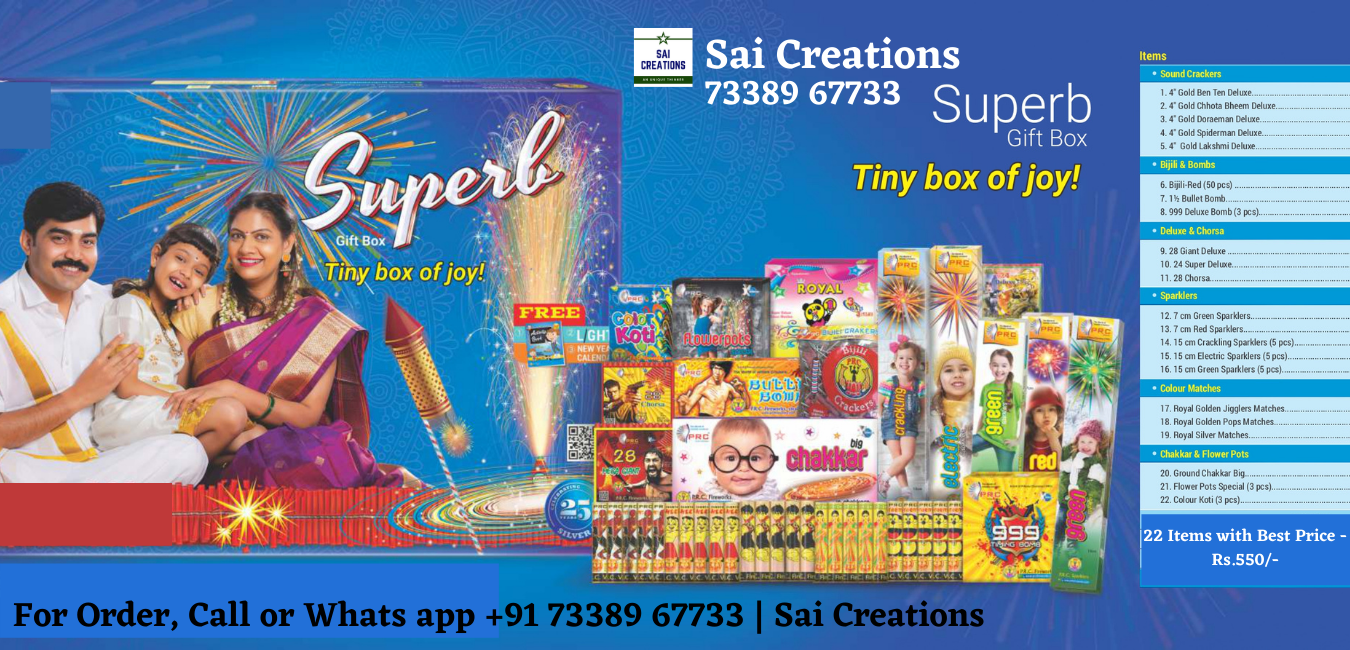 Get the Best Offers on your Diwali Crackers!!! Super Gift Box with 22 Items for Just Rs.550/-