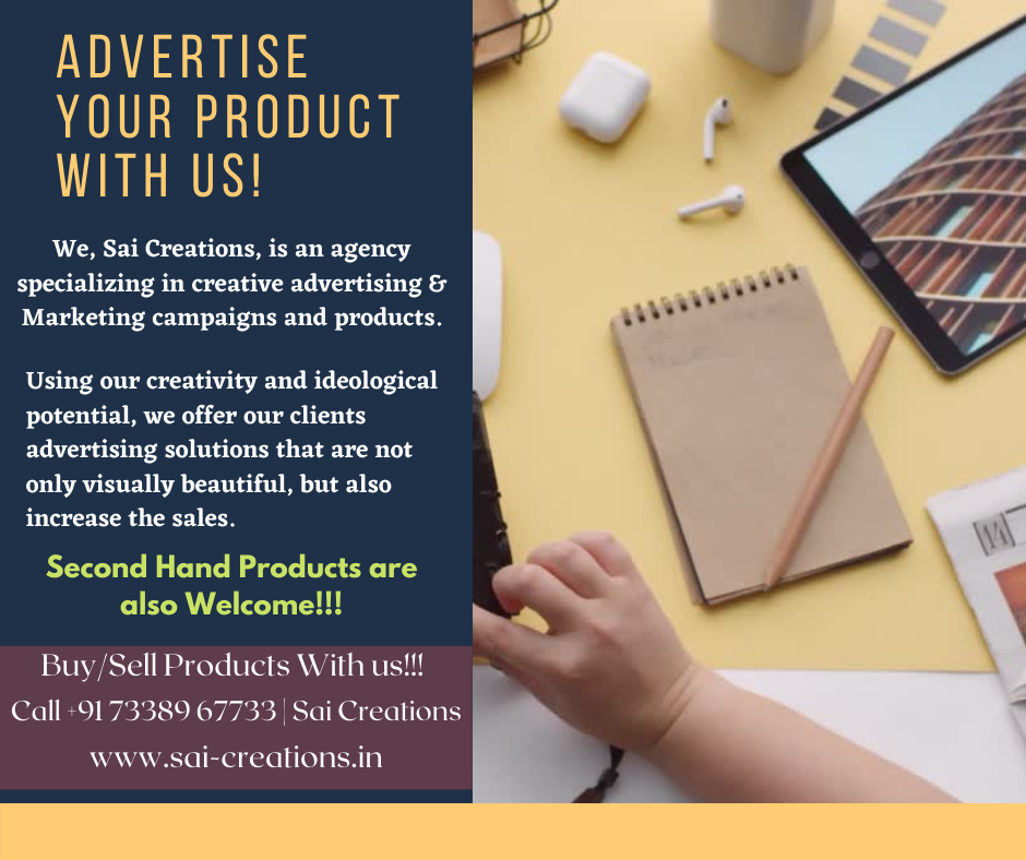 Advertise your products with us!!! Call +91 73389 67733 | Sai Creations