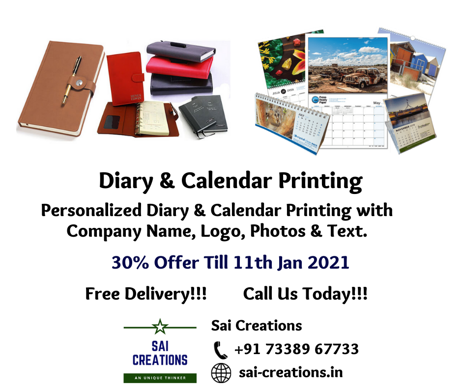 30% Offer on Diary & Calendar Printing till Jan 11th 2021