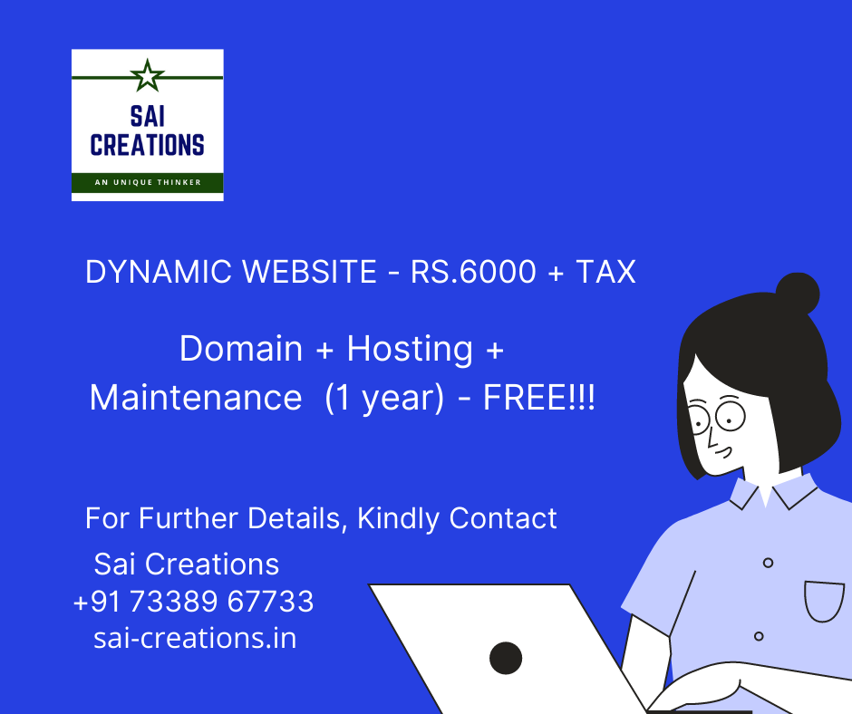 Dynamic Website - Rs.6000 + Tax