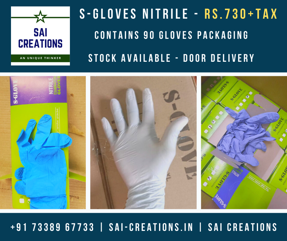 Nitrile S-Gloves Rs.730+Tax (90 Gloves) Available!!!